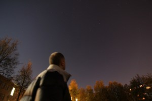 Stars observer watching in the night sky